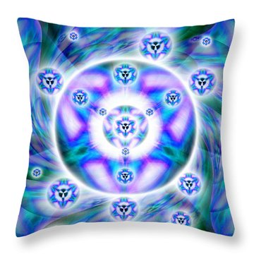 Throw Pillow featuring the drawing Magnetic Fluid Harmony by Derek Gedney