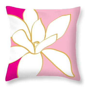 Magnolia 2- Colorful Floral Painting Throw Pillow