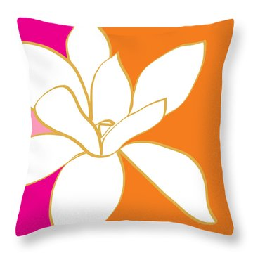 Magnolia 3- Colorful Flower Art Throw Pillow