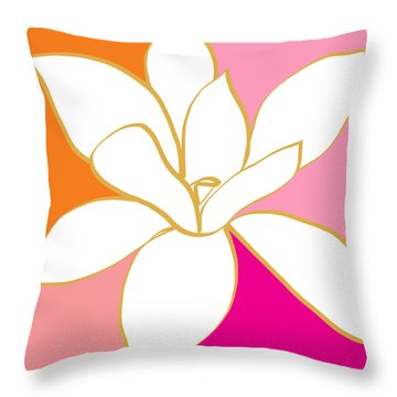 Magnolia 4- Colorful Flower Art Throw Pillow