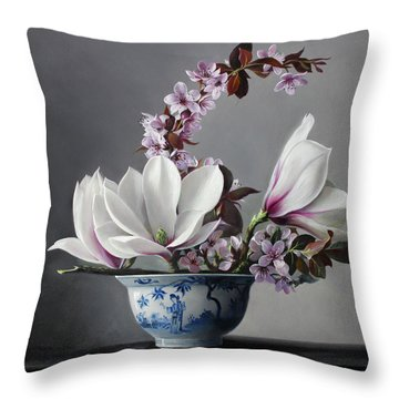 Magnolia And Apple Blossem Throw Pillow