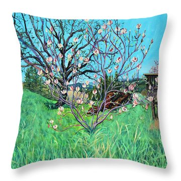 Magnolia Blooming At The Farm Throw Pillow by Asha Carolyn Young