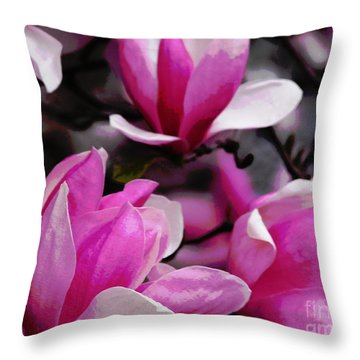 Throw Pillow featuring the photograph Magnolia Blossoms by Olivia Hardwicke