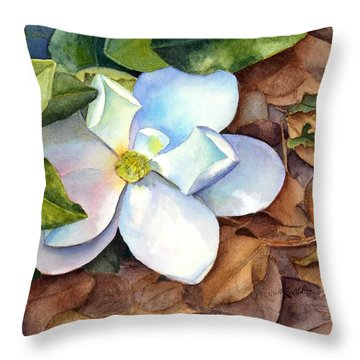 Throw Pillow featuring the painting Magnolia by Bonnie Rinier