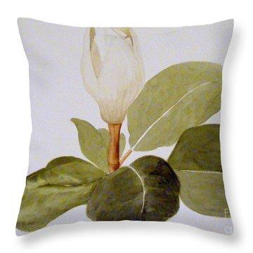 Magnolia Bud II Throw Pillow by Nancy Kane Chapman
