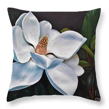 Throw Pillow featuring the painting Magnolia by Paula L