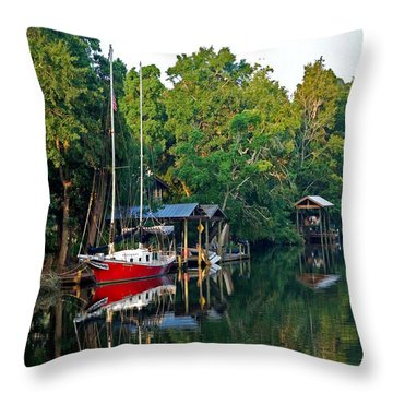 Magnolia Red Boat Throw Pillow