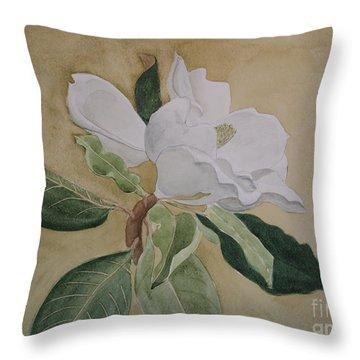 Magnolia San Marino Throw Pillow by Nancy Kane Chapman