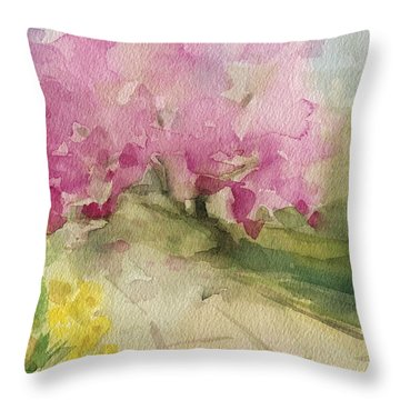 Magnolia Tree Central Park Watercolor Landscape Painting Throw Pillow