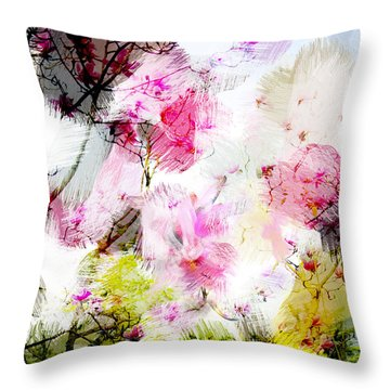 Magnolia Tree Throw Pillow by Linde Townsend