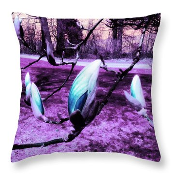 Magnolias In An Alien World Throw Pillow by Shawna Rowe