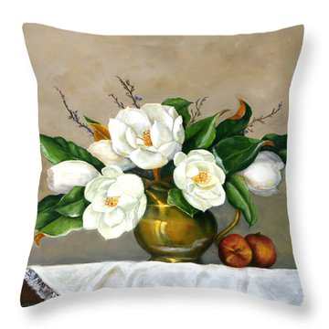Magnolias - Southern Beauties Throw Pillow