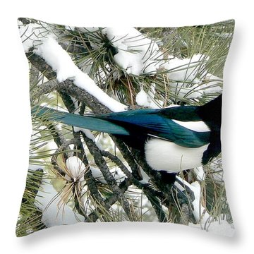 Magpie In The Snow Throw Pillow