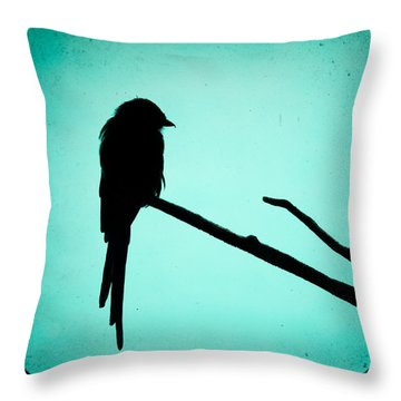 Magpie Shrike Silhouette Throw Pillow