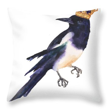 Magpie Watercolor Throw Pillow by Alison Fennell