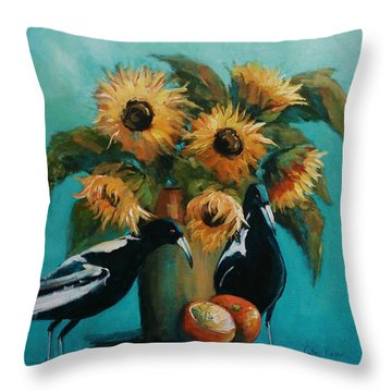 Magpies In Blue Throw Pillow