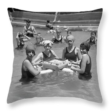 Mah-jong In The Pool Throw Pillow by Underwood Archives