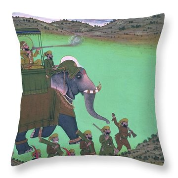 Maharana Sarup Singh Of Udaipur Shooting Boar From Elephant-back, Rajasthan, 1855  Throw Pillow