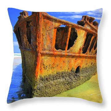 Maheno Shipwreck Throw Pillow
