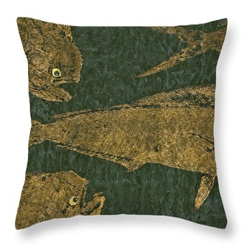 Mahi Mahi On Black W/ Gold Thread Unryu Paper Throw Pillow
