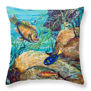 Maho Bay Left Throw Pillow by Linda Olsen