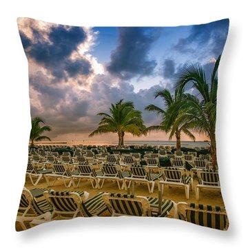 Mahogany Bay Beach-roatan-honduras Throw Pillow