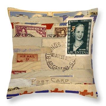 Mail Collage Eva Peron Throw Pillow
