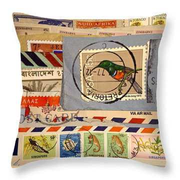 Mail Collage South Africa Throw Pillow