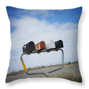 Throw Pillow featuring the photograph Mailboxes by Erika Weber