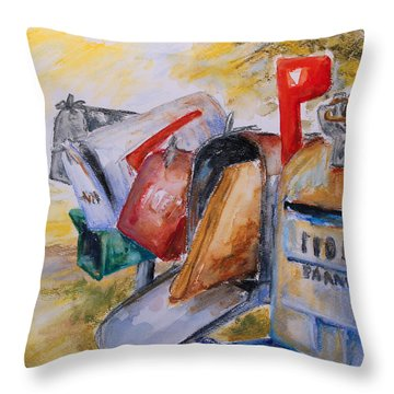 Mailboxes In Texas Throw Pillow by Barbara Pommerenke