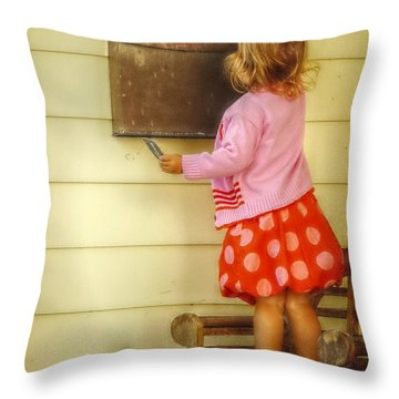Mailing A Letter Throw Pillow by Valerie Reeves