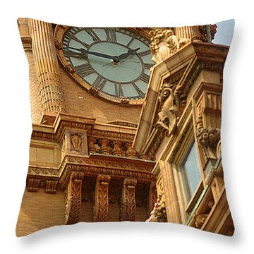 Main St Station Clock Tower Richmond Va Throw Pillow by Suzanne Powers