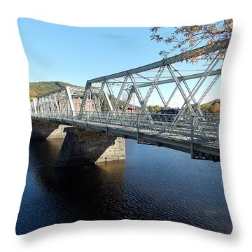 Main Street Bridge Shelbourne Falls  Throw Pillow