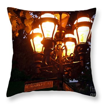 Main Street Gaslights - Abstract Throw Pillow by Jacqueline M Lewis
