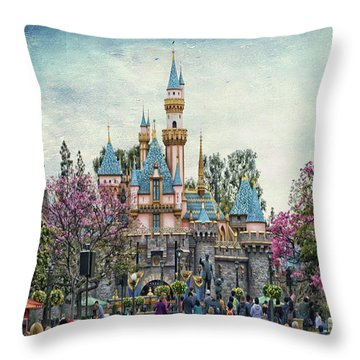 Main Street Sleeping Beauty Castle Disneyland Textured Sky Throw Pillow
