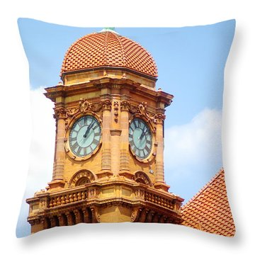 Main Street Station Clock Tower Richmond Va Throw Pillow by Suzanne Powers