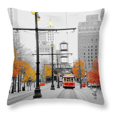 Main Street Trolley  Throw Pillow by Lizi Beard-Ward