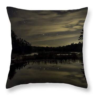 Maine Beaver Pond At Night Throw Pillow