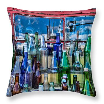 Maine Bottle Collector Throw Pillow by Steven Bateson