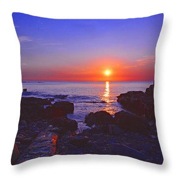 Maine Coast Sunrise Throw Pillow