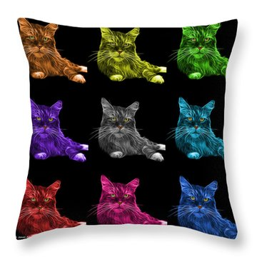 Maine Coon Cat - 3926 - Bb - M Throw Pillow by James Ahn
