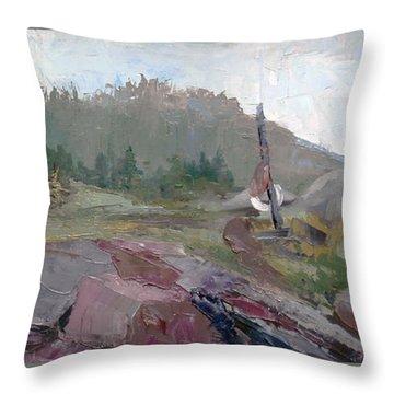 Maine Cove In Fog Throw Pillow by J R Baldini