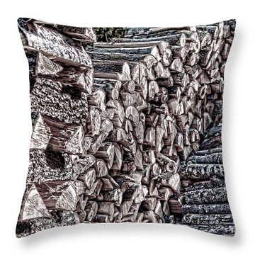 Maine Firewood Throw Pillow