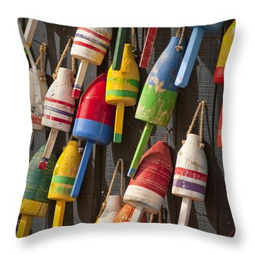 Maine Fishing Buoys Throw Pillow