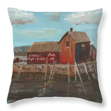 Maine Fishing Shack Throw Pillow