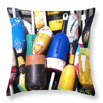 Throw Pillow featuring the photograph Maine Lobster Buoys by Denyse Duhaime