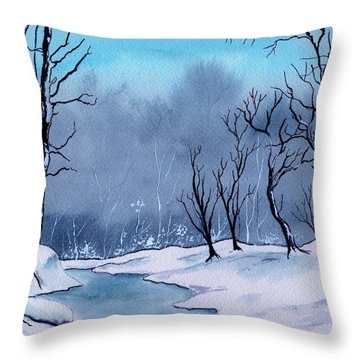 Maine Snowy Woods Throw Pillow