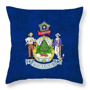 Maine State Flag Throw Pillow by Pixel Chimp