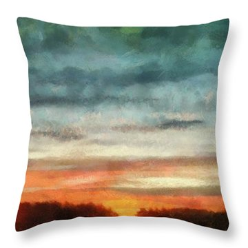 Maine Sunset Throw Pillow by RC deWinter