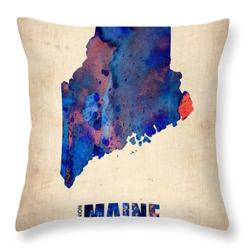Maine Watercolor Map Throw Pillow by Naxart Studio